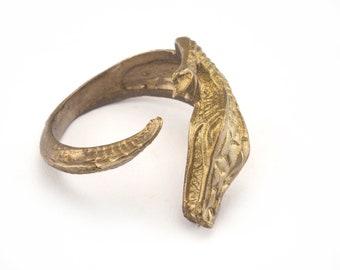 Crocodile Ring Adjustable Ring raw Brass (17.5mm 7US inner size) Oz2888
