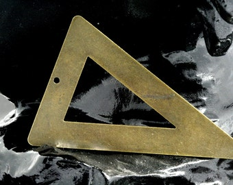 20 pcs 50x33 mm antique brass triangle tag 1 hole connector charms ,findings 795ABM