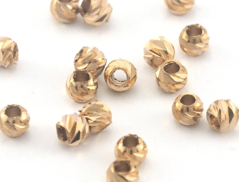 Charms Findings spacer beads bab1 oz3760 Streaked Beads Faceted raw Brass Sphere 3mm hole 1.3mm 16 gauge