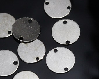 50 pcs nickel plated brass 12 mm circle tag 2 hole connector charms, findings 69N-2.2