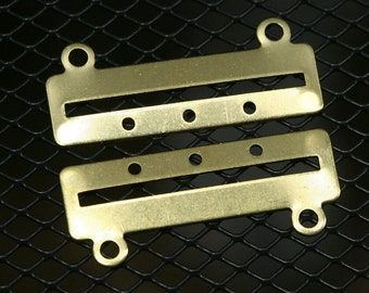 30 pcs 35 x 14 x 0.8 mm raw brass bracelet part 3 hole 1353R3C RBBP ( stamping )
