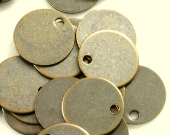 120 Pcs Antique Brass Tone Brass 10 mm Circle tag 1 hole Charms ,Findings 71AB-40