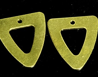 100 pcs 16x18 mm raw brass triangle tag 1 hole raw brass connector charms ,raw brass findings 941R-60