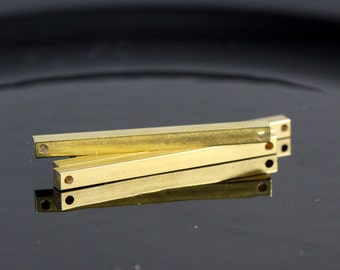 """raw brass bar connector  6 pcs 4x60mm 0,16""""x2,25""""  square stamping bar, square rod (2mm 5/64"""" 12 gauge hole ) sbl460-1095W"""