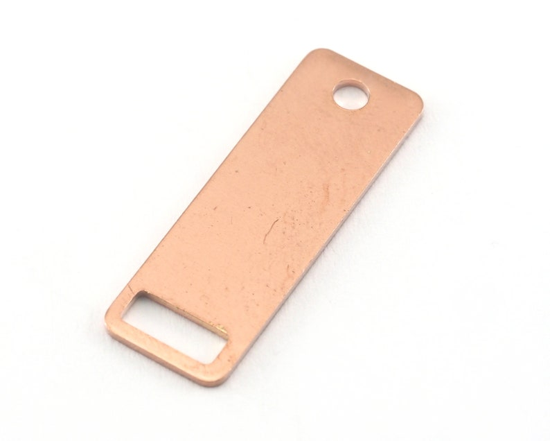 Tag for Stamping Bar Necklace with Holes Rectangle Stamping Blank 2 hole raw copper 10x30mm OZ3830-165