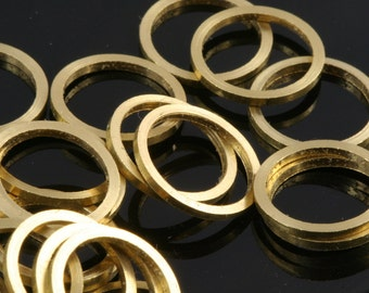 100 pcs Raw Brass Ring 12 mm (hole 10 mm) industrial brass Charms,Pendant,Findings spacer bead bab10
