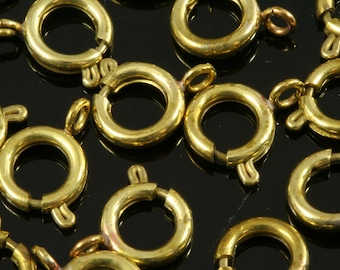 spring clasps 100 pcs raw brass solid brass round ring circle 9 mm CL9