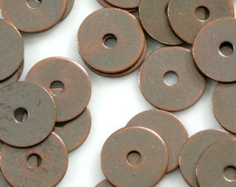 150 Pcs Antique Copper Tone Brass 7 mm Circle tag middle hole Charms ,Findings 78AC-29 tmlp