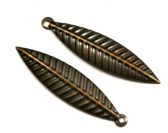 60 Pcs Antique Tone Brass 35x8 mm Leaf shape Charms ,Findings 409AB-44