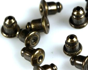 nuts, stopper,butterfly antique brass tone brass earring backs, - making earrings 5 x 6 mm