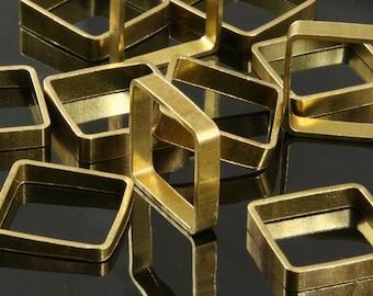 """10 pcs L34 Raw Brass  Square Bead spacer 20 x 20 x 4 mm 0,79"""" x 0,79"""" x 0,16  1705"""