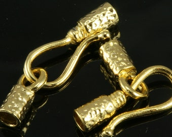 brass hook clasp,2 pcs 24 x 4 mm (3,2 mm hole) gold plated  fold over crimp heads,connector ,findings,pendant 331