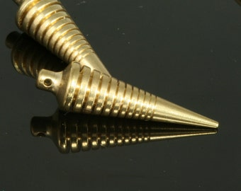 """5 pcs 7,5 x 27 mm 19/64"""" x 1 1/16""""  raw brass spike finding spacer industrial design (1 mm 0,04"""" 18 gauge hole ) R1136"""