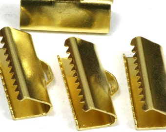 30 pcs 6x19 mm Raw Brass Ribbon Crimp Ends, Raw Brass Ribbon Crimp End, Ribbon Crimp Ends cap, with loop Findings R23 1781