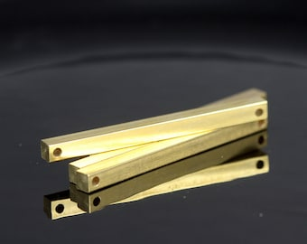 """raw brass bar connector 4x38 mm 0,16""""x1,5""""  square stamping bar  finding square rod (2mm 5/64"""" 12 gauge hole ) sbl438-1101W"""