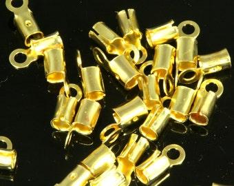 raw brass crimp, 100 pcs 2,2 mm 11 gauge end cap, finding, leather, cord, S3-kR