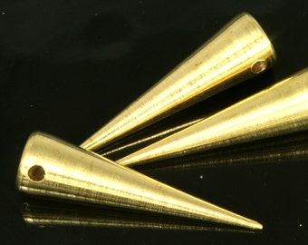 "long spike 7x27 mm 9/32"" x 1 1/16""  raw brass finding spacer industrial design (2 mm 5/64"" 13 gauge hole ) pendulum 1135R"