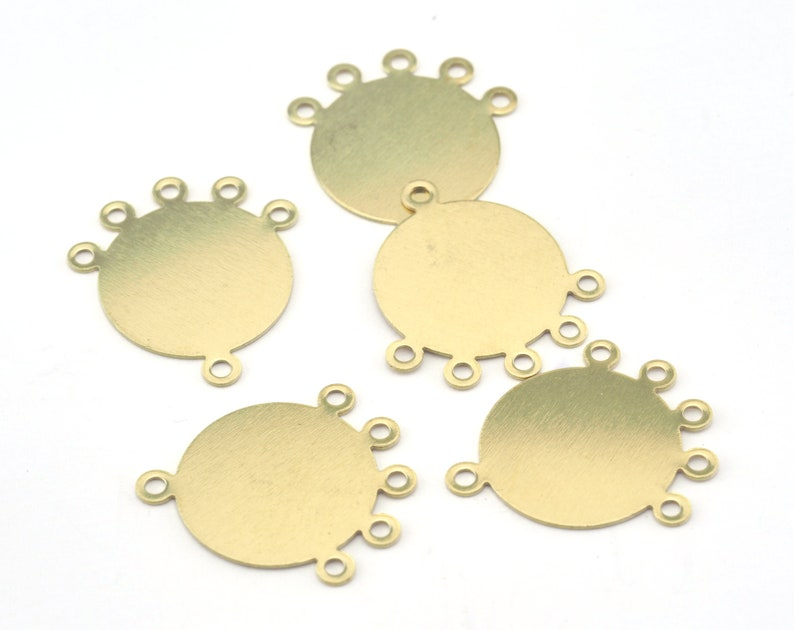 Circle raw brass 23x21mm connector charms  findings earring image 0