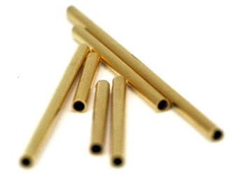 35 pcs  2 x 25 mm ( 1,6 mm hole) gold plated brass square tube finding charm 1336G-25