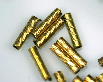 50 Pcs Raw Brass Faceted Tube 8 x 1.8 mm (hole 1.3 mm)  E818F1005.5 1775