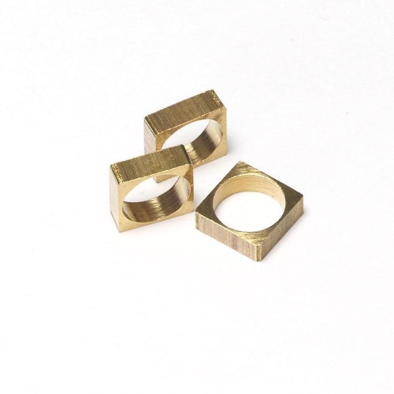 9mm 2364 hole Raw Brass square pendant 10x3,5mm 1327R