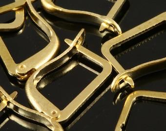30 pcs  Raw Brass earring leverback findings 16x10 mm