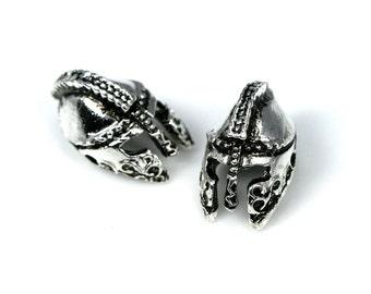 15 pcs  silver tone roman helmet 2 hole Pendant  12 mm findings spacer bead bab882S
