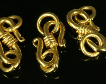 2 pcs 15 mm gold plated brass hook clasp 501