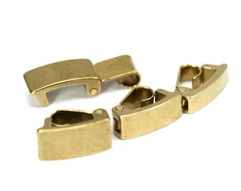 10 pcs raw brass solid brass snap lock clasp, fold-over 1310