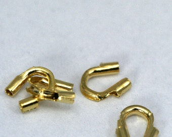 50 pcs 5 x 5 mm gold plated wire protector, 0.8 mm inside diameter 1342G-2 CB