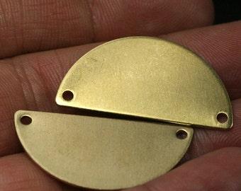 "20 pcs 32x16x0.8mm raw   brass semi circle blanks  half moon shape pendant (2mm  0,08"" 12 gauge hole) SCS 1076R"