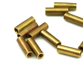 10 Pcs Raw Brass Tube 15 x 5 mm (M4 Thread )  industrial brass Charms,Pendant,Findings spacer bead