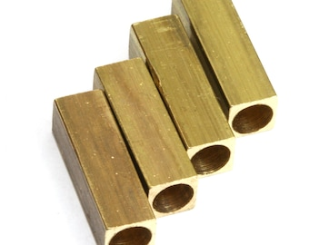 "5 pcs Raw Brass square tube 6x20 mm 1/4"" x 5/4""  (5 mm 3/16"" hole ) bab5 1744"