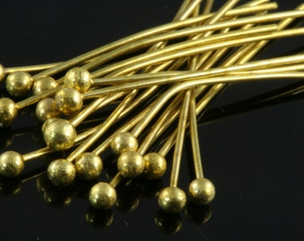 Ball head pin 100 pcs 60 mm 23 gauge( 0,6 mm ) raw brass  Head Pin Ball end 6023HB-20