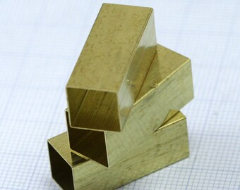 Square raw brass tube 10 x 10 x 25 mm (hole 9.8 mm) industrial brass charms,pendant,findings spacer bead bab9 1443