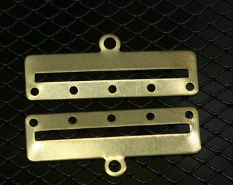30 pcs 35 x 14 x 0.8 mm raw brass bracelet part 5 hole 1354R5 RBBP ( stamping )