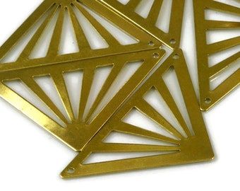 30 Pcs Raw Brass 45x28mm triangle tag 2 hole connector Charms ,Findings 743Rdd