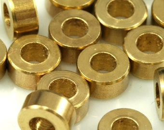 30 pcs 5 x 2.5 mm (hole 2.4 mm) raw brass cylinder whell industrial brass charms, pendant, findings spacer bead 1039SB bab2