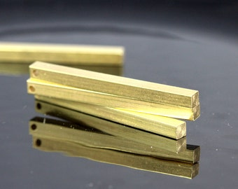 """raw brass bar square stamping 6 pcs 4x60mm 0,16""""x2,25"""" finding square rod industrial design (2mm 5/64"""" 12 gauge hole ) sbl460-1095"""
