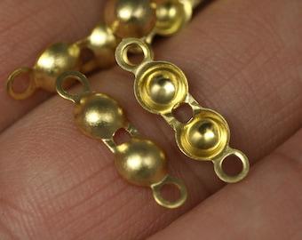 50 pcs 5x17 mm brass ball crimp bead tips- clam shell knots cover terminators- yellow tone findings CS5Y-12