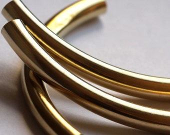 Raw Brass Curved Tube 15 Pcs 6x80mm (hole 5,4mm) 1855