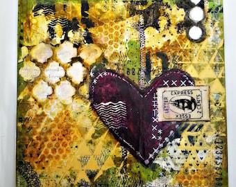 Handmade Mixed Media Canvas Art. 8x8 inches. Ready to Ship.Heart Art. Purpose Art. Deep Plum, Yellow, Greens