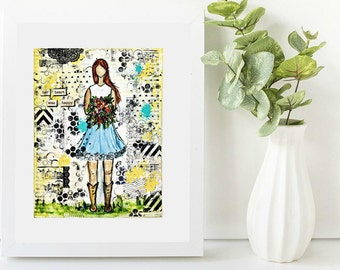 Mixed media art giclee print: Country Girl.