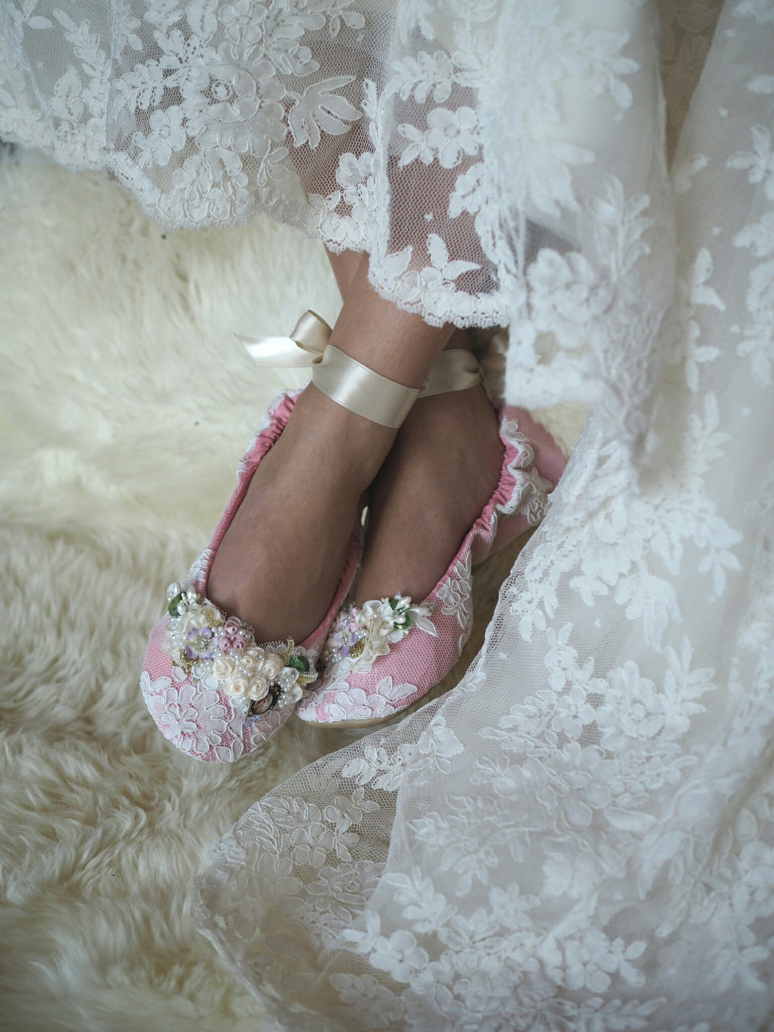 reinessance princess ballerina bridal slipper, rose ballet style bridal shoe, customized wedding shoe, elegant bridal ballet sli
