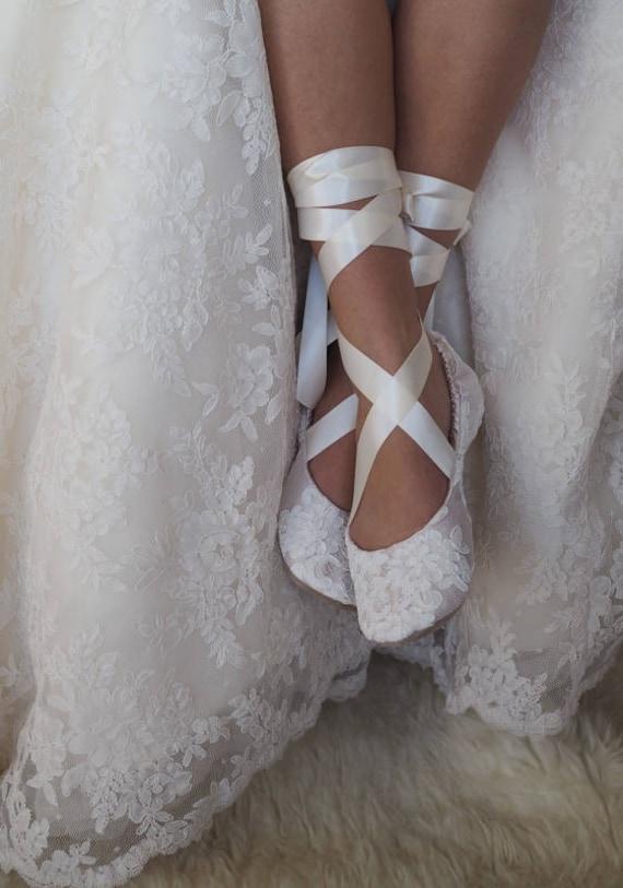Spitze Champagner Ballerina Hochzeitsschuhe Spitze Etsy