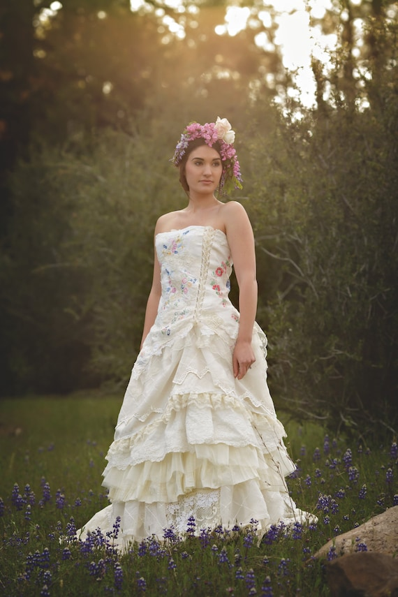 Embroidered Wildflower Wedding Gown Handmade Bohemian   Etsy