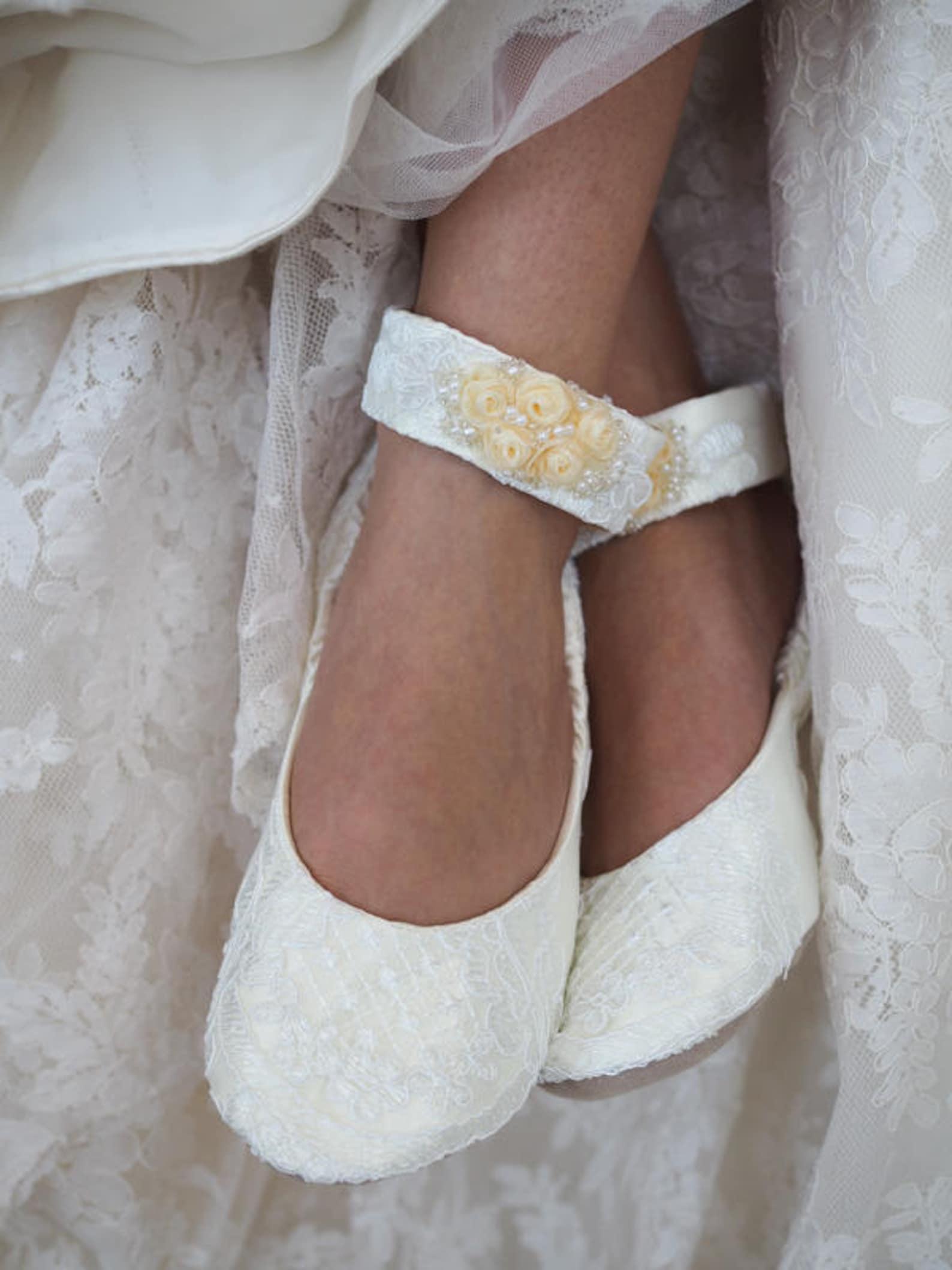 ivory lace bridal ballet shoe with ivory rosettes~ custom wedding ballet flat with embellished ankle straps~ lace ballet bridal