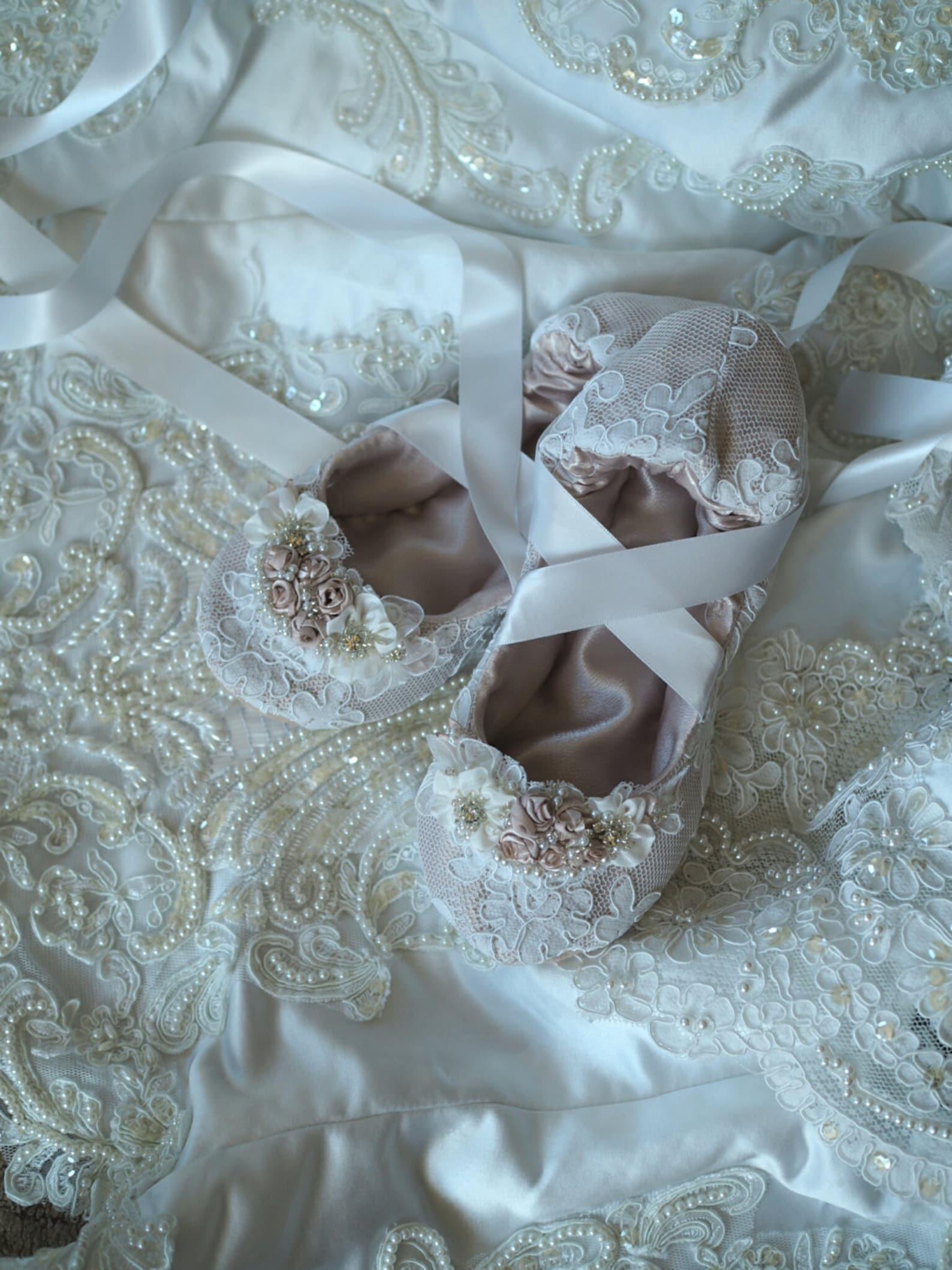 champagne princess ballerina bridal slipper with white lace, custom princess ballerina wedding slippers, beaded bridal ballet sl