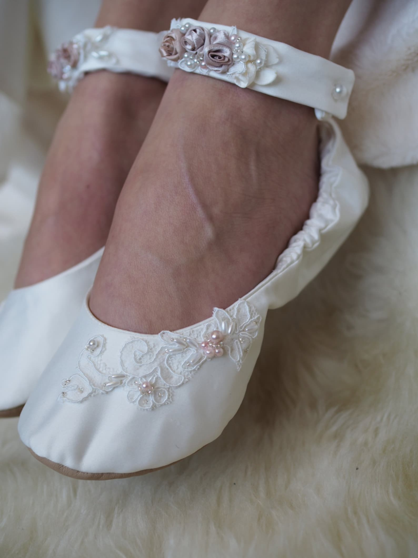 custom bridal ballet shoes, satin and lace wedding bridal flats, beaded wedding shoes, blush wedding shoes
