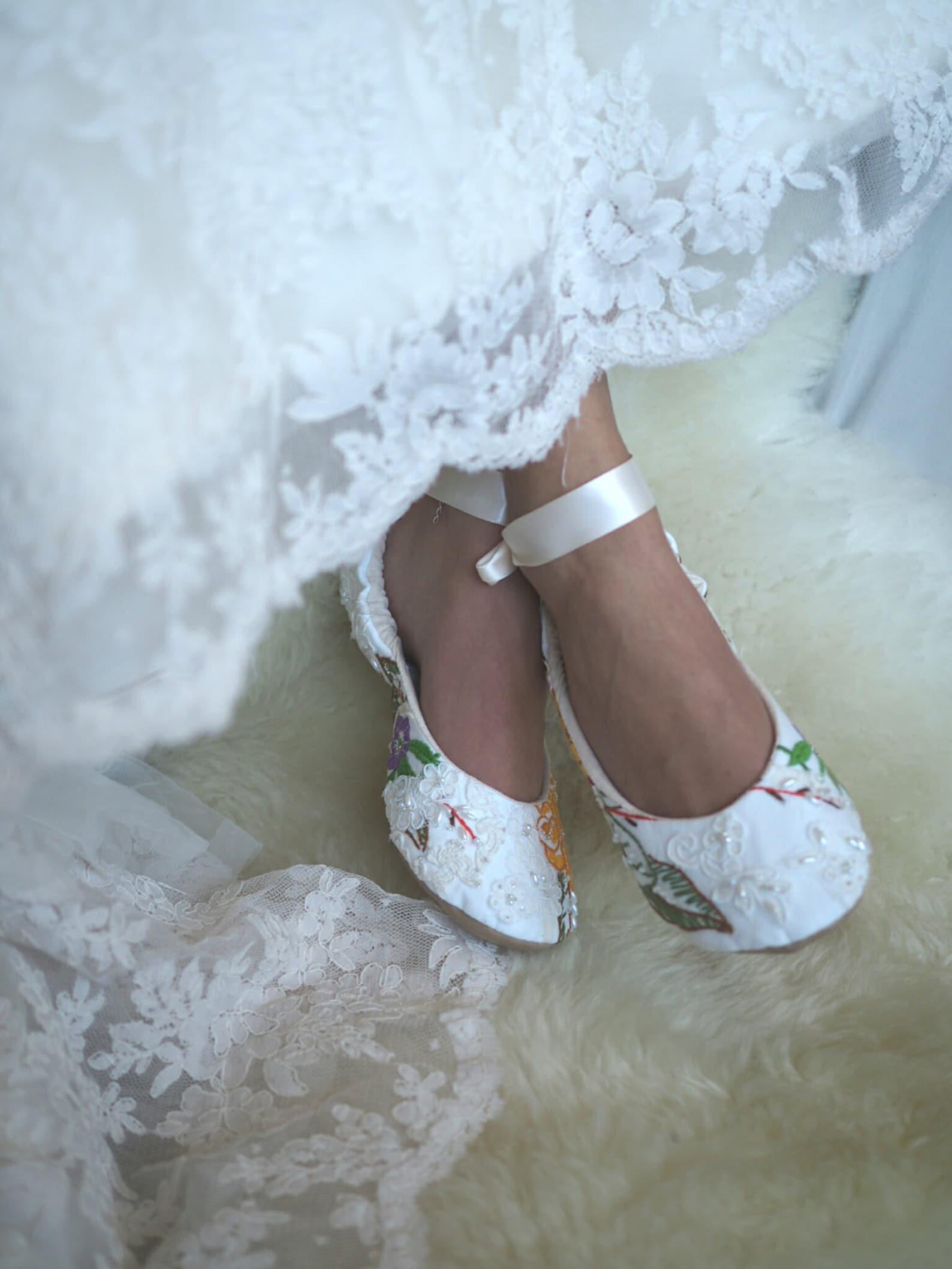 autumn princess bridal ballet slipper, vintage embroidered ballet wedding shoes,